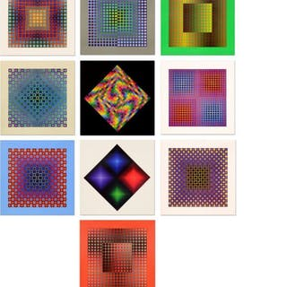 "Lot of (10) Victor Vasarely 10x10 ""Folklore Planetaire Portfolio"""