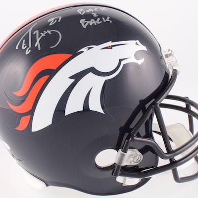 """Ed McCaffrey Signed Denver Broncos Full-Size Helmet Inscribed """"Back"""