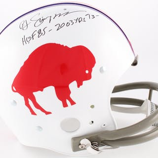 O.J. Simpson Signed Bills Throwback Suspension Full-Size Helmet Inscribed