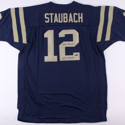 info for da84e a4044 Roger Staubach Signed Navy Midshipmen Jersey Inscribed