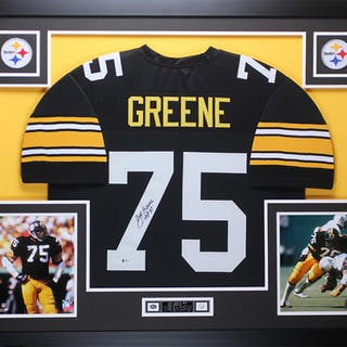 207fd4911b9 Joe Greene Signed Steelers 35x43 Custom Framed Jersey Inscribed