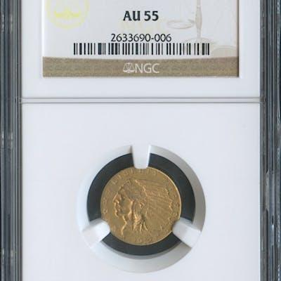 1912 $2.50 Indian Quarter Eagle Gold Coin (NGC AU 55)
