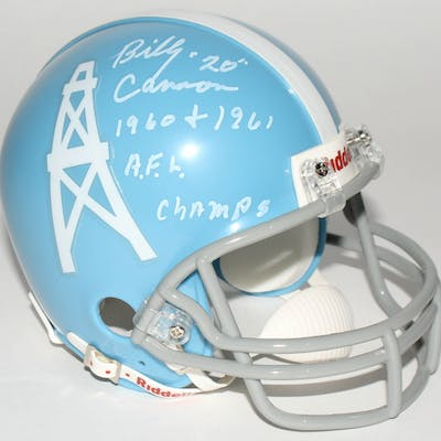 """Billy Cannon Signed Oilers Throwback Mini-Helmet Inscribed """"1960 +"""