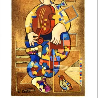 """Dorit Levi Signed """"Merry Violin"""" Limited Edition 7x10 Serigraph"""