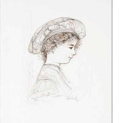"""Edna Hibel Signed """"Ove"""" Limited Edition 10x16 Lithograph"""