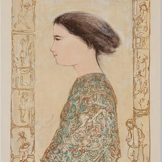 """Edna Hibel Signed """"China Profile"""" Limited Edition 22x30 Lithograph"""