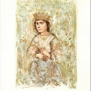 """Edna Hibel Signed """"Zorina"""" Limited Edition 20x26 Lithograph"""