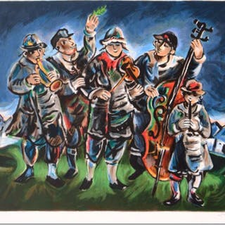 "Yosl Bergner Signed ""Klezmer"" Limited Edition 24x21 Lithograph"