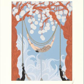 """Erte Signed """"Spider Web"""" Limited Edition 17x22 Serigraph"""