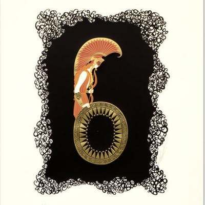 "Erte Signed ""Numeral 6"" Limited Edition 17x22 Serigraph"