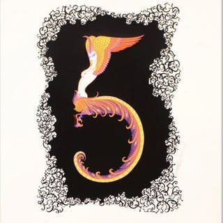 """Erte Signed """"Numeral 5"""" Limited Edition 17x22 Serigraph"""