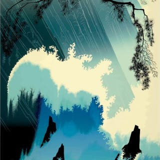 """Eyvind Earle Signed """"Ocean Splash"""" Limited Edition 36x24 Serigraph on Paper"""