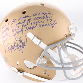 44c98fa3d89 Rudy Ruettiger Signed Full-Size Notre Dame Fighting Irish Helmet with –  Current sales – Barnebys.com