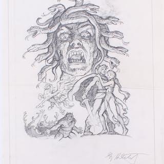 "Greg Hildebrandt Signed 1981 ""Clash of the Titans"" 13x16.5 Original"