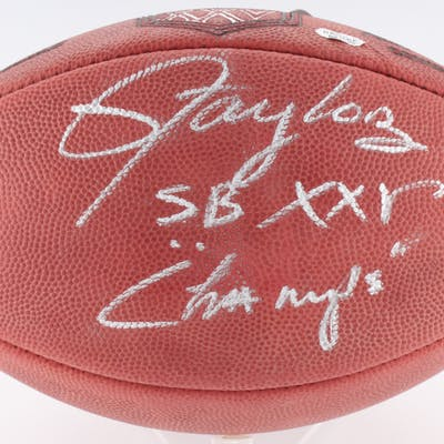 """Lawrence Taylor Signed Official NFL Game Ball Inscribed """"SB XXV Champs"""""""