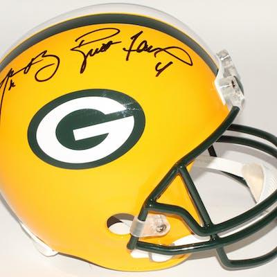 Aaron Rodgers & Brett Favre Signed Packers Full-Size Helmet (Fanatics