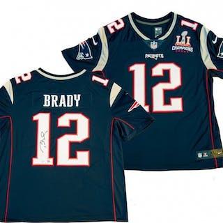 Tom Brady Signed Patriots Limited Edition Jersey with Super Bowl LI