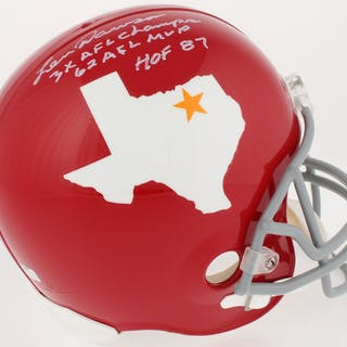 Len Dawson Signed Dallas Texans Throwback Full-Size Helmet With (3)