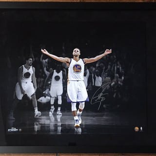 "Stephen Curry Signed Warriors ""3 Point Celebration"" 20x24 Custom Framed"