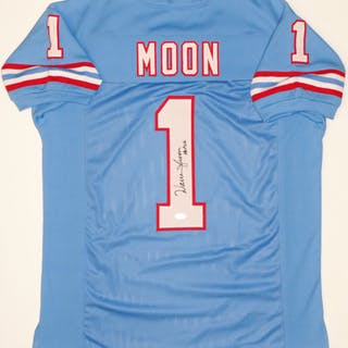 fa573a468 Warren Moon Signed Oilers Jersey Inscribed