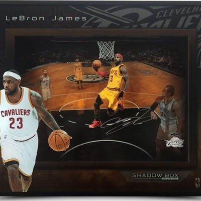 "LeBron James Signed Cleveland Cavaliers ""Lift Off"" 16x20x2 Custom"