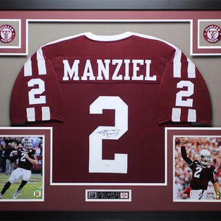 sports shoes 6aa20 da1e9 Johnny Manziel Signed Texas A&M Aggies 35x43 Custom Framed ...