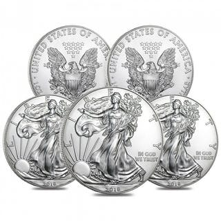 Lot of (5) 2018 $1 American Eagle Silver Dollar $1 Coins (Brilliant