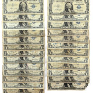 lot of 25 1935 1957 1 one dollar blue seal silver certificates