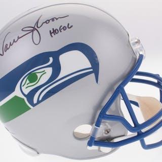 91aa715c8 Warren Moon Signed Seahawks Full-Size Helmet Inscribed