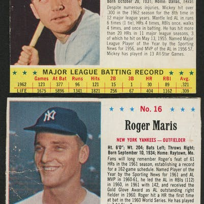 Lot Of 2 1963 Jello Baseball Cards With 15 Mickey Mantle 16