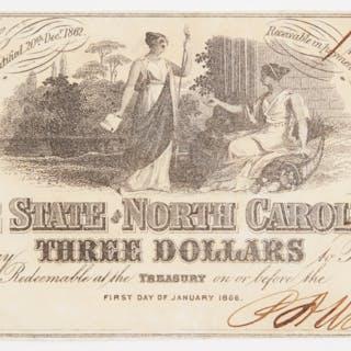 1863 3 three dollars the state of north carolina bank note