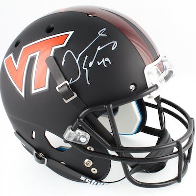 Tremaine Edmunds Signed Virginia Tech Hokies Matte Black Full-Size