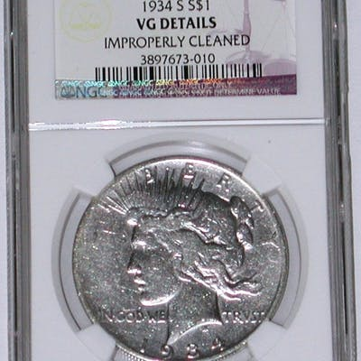 1934-S PEACE DOLLAR - NGC VG DETAILS