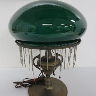 Emerald green mushroom shade table lamp