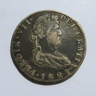 1821 Ferdin VII De Gratia, Mexican Silver Coin, Spanish Colony Coin