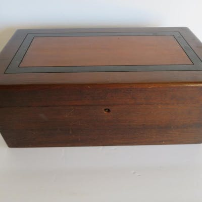 """Fitted wood poker box with chips and cards, 12"""""""