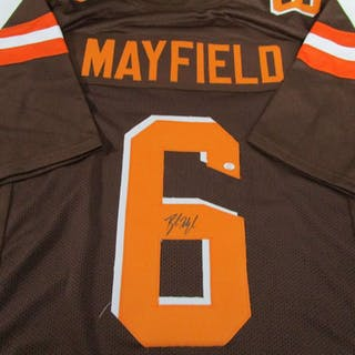 df92ab508 Baker Mayfield of the Cleveland Browns signed autographed brown football –  Current sales – Barnebys.com