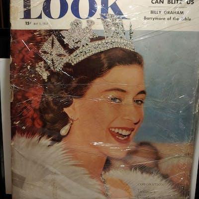 VINTAGE 1953 LOOK MAGAZINE QUEEN ELIZABETH CORONATION COVER