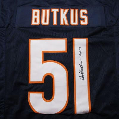 Dick Butkus of the Chicago Bearssigned autographed football jersey PAAS COA 071