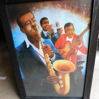 Black historical jazz framed print piano and bass, guitar & trumpet
