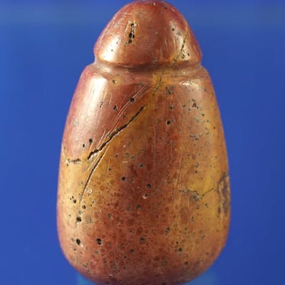"""1 5/8"""" fully grooved Pipestone Plummet found in Ohio in excellent condition."""