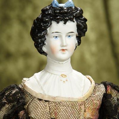 """16"""" German bisque lady doll with sculpted hair and bodice, model 8552"""