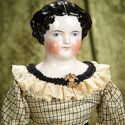 """23"""" German porcelain lady doll with pink-tinted complexion. $300/400"""