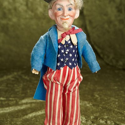"13"" German Bisque Portrait of Uncle Sam by Dressel in Original Costume."