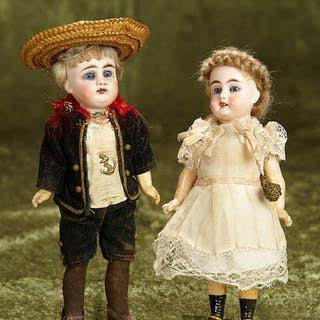 "7"" & 8"" Two Sonneberg bisque brother and sister child dolls by Gebruder"