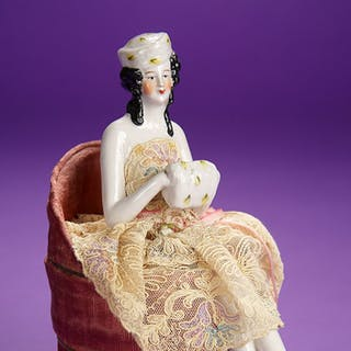 German Porcelain Half-Doll in Rare Costume on Nina Ricci Powder Box 700/900