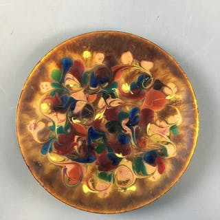 Multi-Colored Swirled Glass on Metal Plate