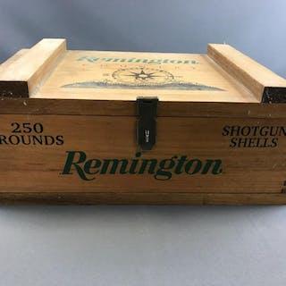 Remington Shotgun shell wooden box with handles