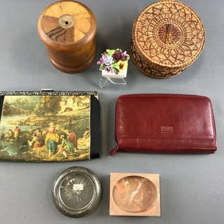 Group of random items including leather clutch, wooden container