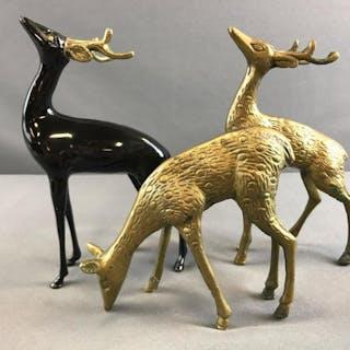 Group of 3 Brass Deer figures